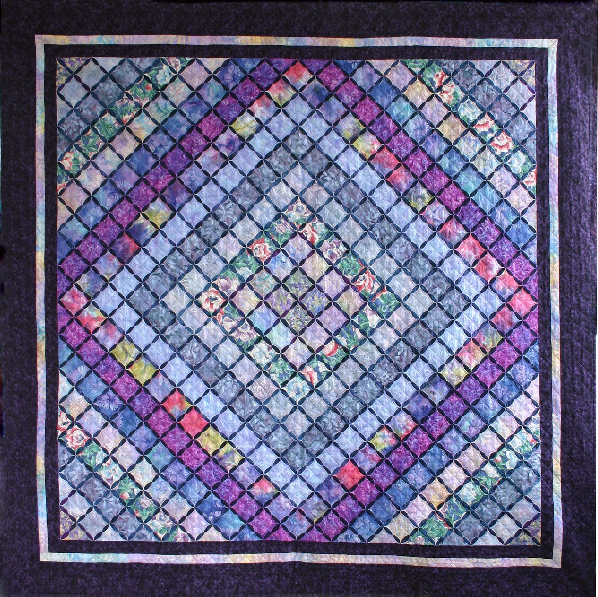 Cathedral window quilt layers of lavender snips and for Window quilts