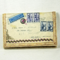 Vintage Envelope Needle Case Italy to Long Beach 01 F